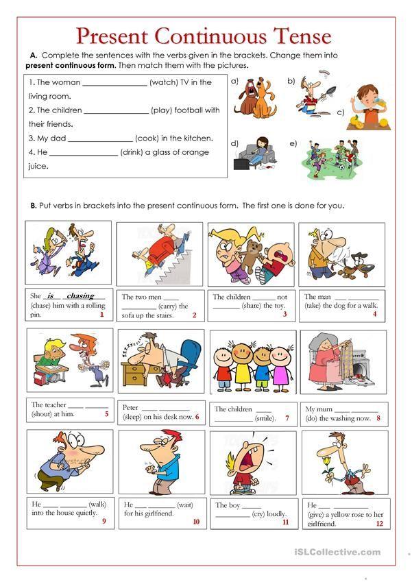 Present Continuous Tense Present Continuous Tense Language Teaching English Grammar Exercises Present progressive worksheet