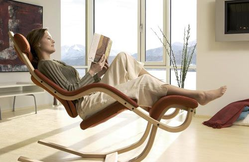 The Gravity Balans from Varier is definitely not your average recliner or rocker. This chair is built for working, reclining, napping, or just watching TV. I'm pretty sure I'd never get up if this was in my possession.