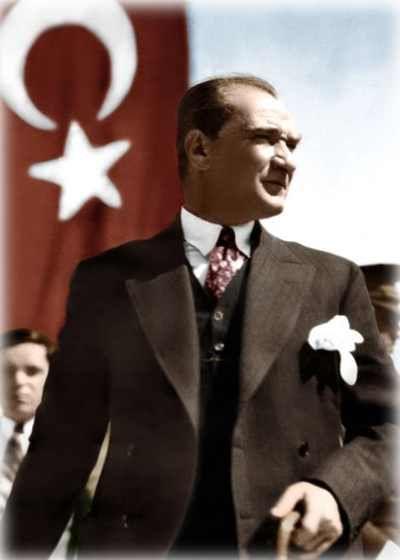 Bastonlu Türk Bayraklı Atatürk Resmiı--Orhan GENEL