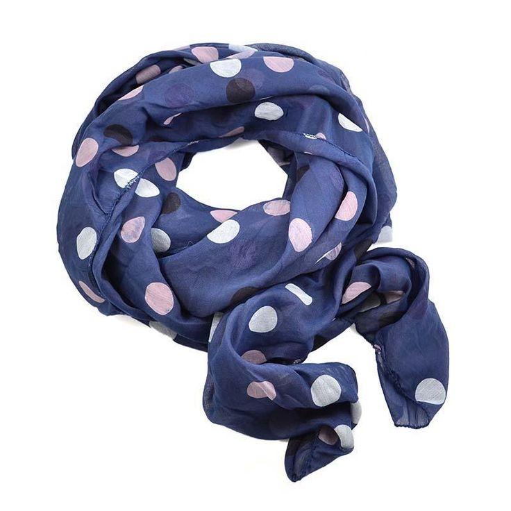 Šála bavlněná Carino 69ci003-30.02 - modrá s barevnými puntíky - Bijoux Me!