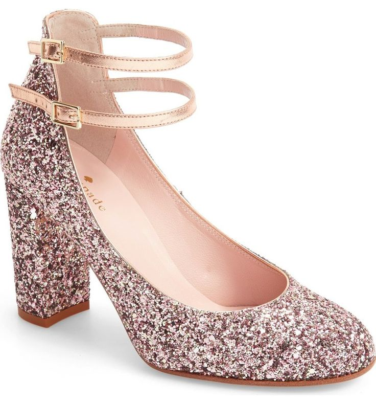 "A generous dusting of rose gold glitter gives new meaning to the phrase ""twinkle toes"" on this playful Kate Spade pump lifted by a block heel perfect for the dance floor."