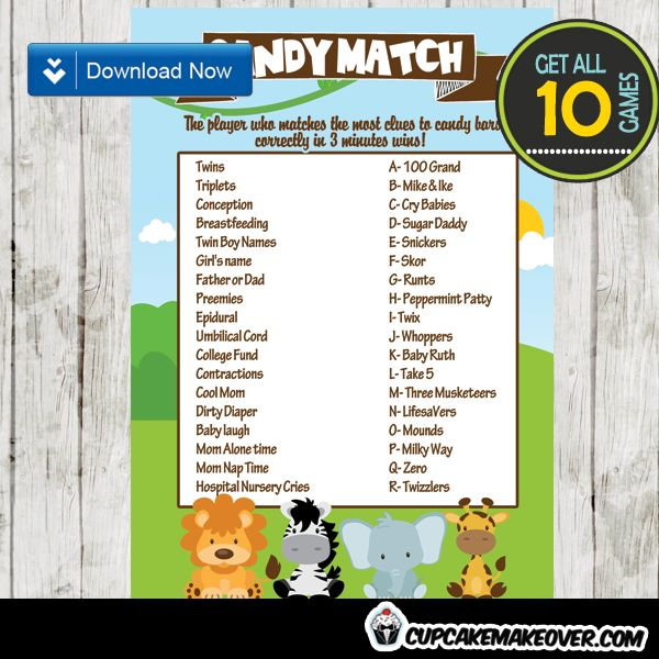 Jungle Theme Baby Shower Games Package U2013 INSTANT DOWNLOAD