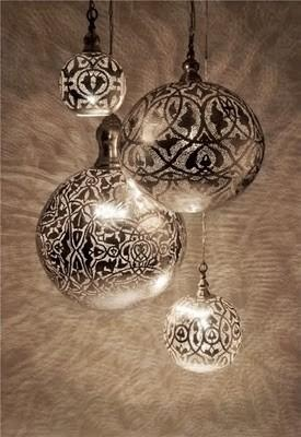 Spray paint through lace onto clear ornament. This would look extra cool if you used Looking Glass paint!