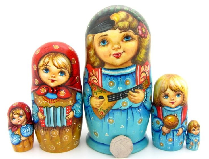 Russian nesting dolls family CHILDREN Balalaika 5 HAND PAINTED BABUSHKA signed