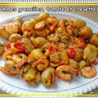 Pommes grenailles, tomates et crevettes (Actifry)