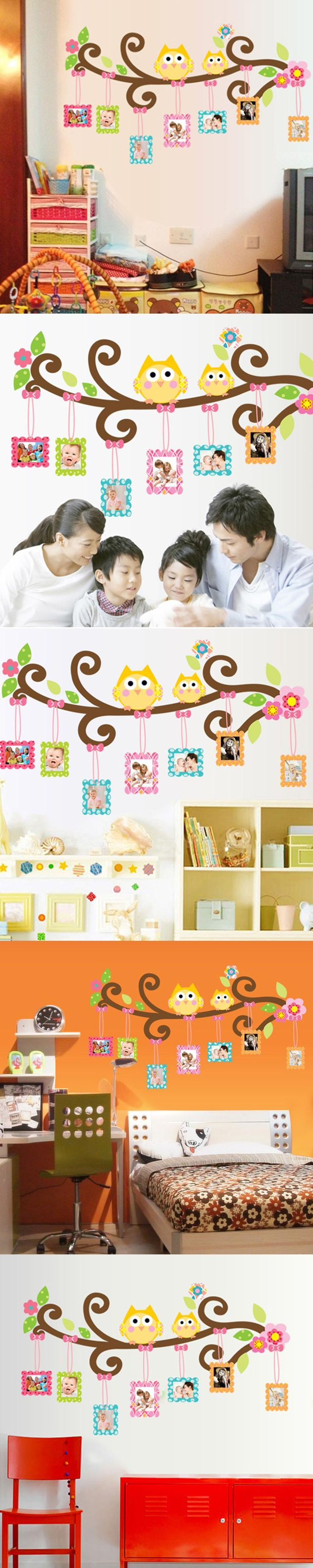 Cute Owl Cartoon Wall Stickers Removable Kids Room Bedroom Creative Decorated Background Wall Stickers