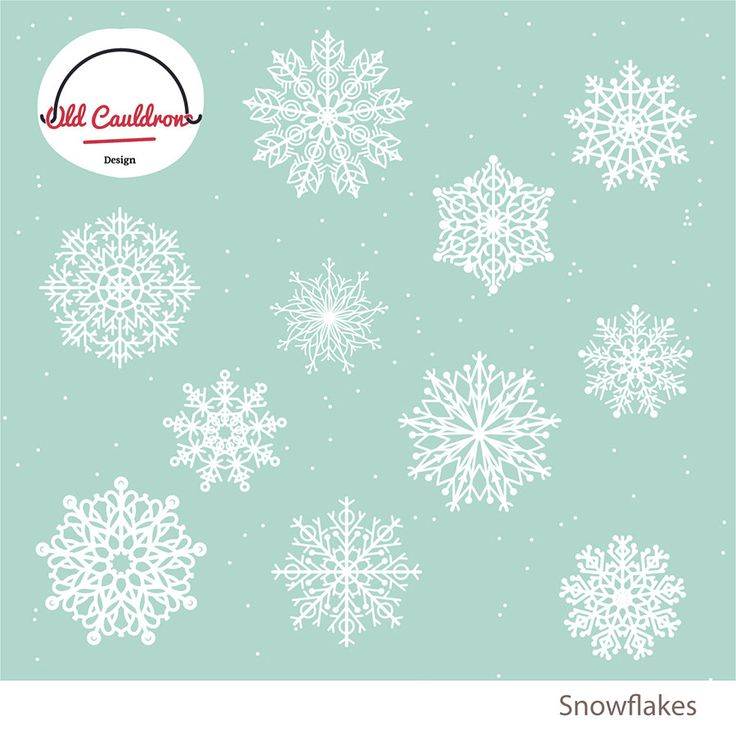 Snowflakes clipart, Christmas clipart, holiday clipart, winter vector clipart, vector images, digital graphic, vector graphics CL005 by OldCauldronDesign on Etsy