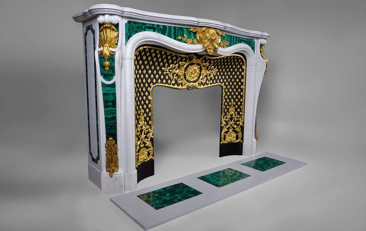 """""""Païva with malachite inlays"""", exceptional White Carrara marble fireplace with gilded bronze ornaments (ref.PAM02) #fireplace #malachite"""