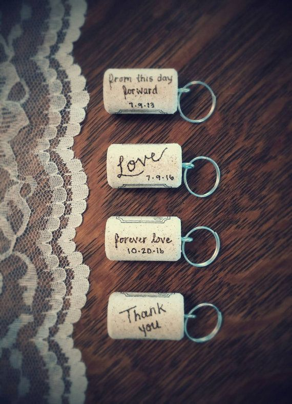 10 Personalized Wine Cork Keychains, Wedding Favors                                                                                                                                                     More