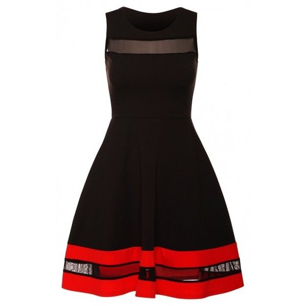 Paris Hilton Celebrity Inspired Black Red Delicate Mesh Insert... ($1.52) ❤ liked on Polyvore featuring dresses, red dress, going out dresses, red black dress, formal dresses and red formal dresses