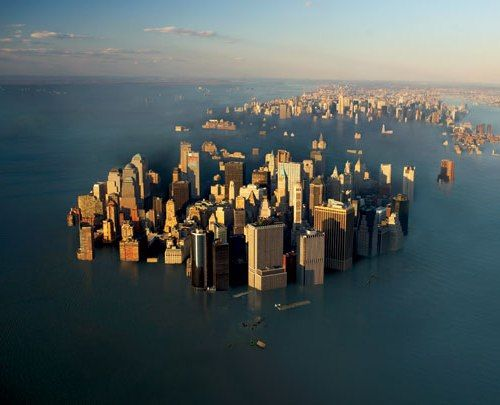 This is the affects of Global Warming and the melting of the polar ice caps, and how the sea level will rise when the ice caps melt. You will see this again, maybe not today, maybe not tomorrow, but you will see this again!!  flooded_ny_0.jpg (500×405)