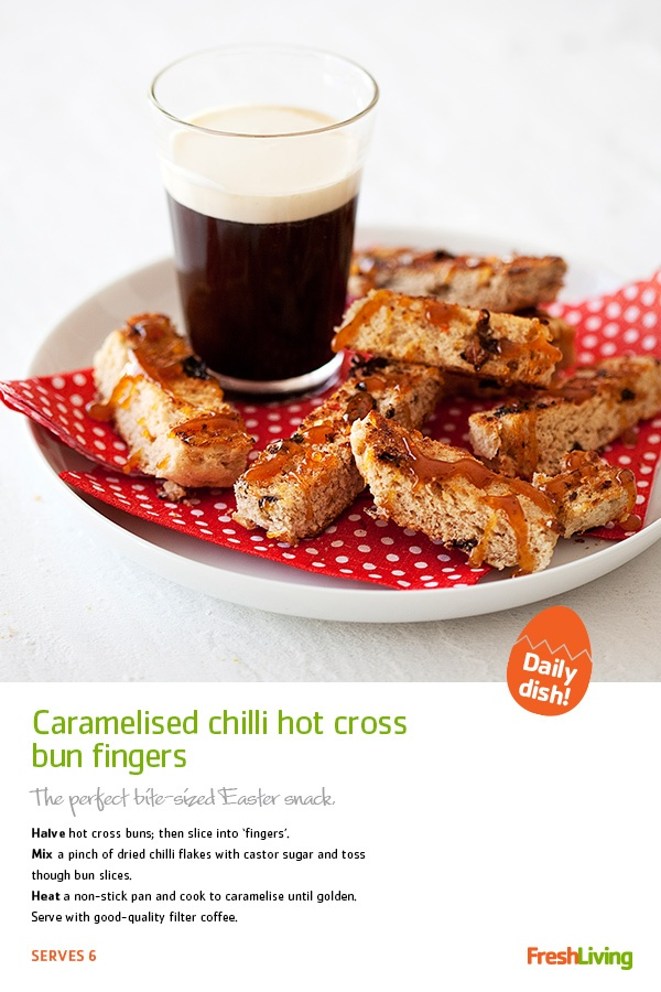 SUGAR AND SPICE: Try caramelised chilli hot cross bun fingers for a spicy twist on the classic #Easter treat! #dailydish #picknpay #freshliving