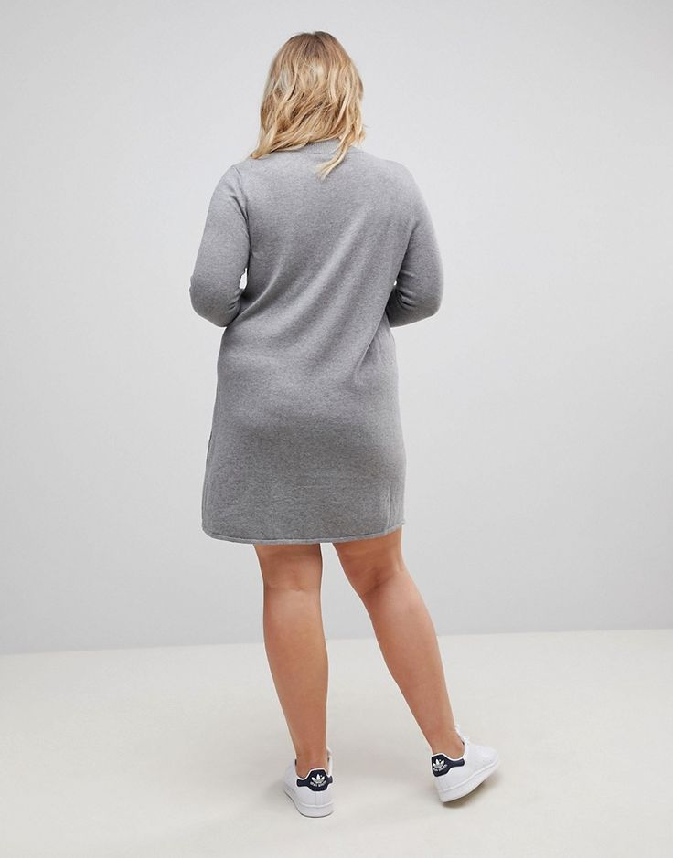 ASOS CURVE Dress in Knit with High Neck in Cashmere Mix - Gray