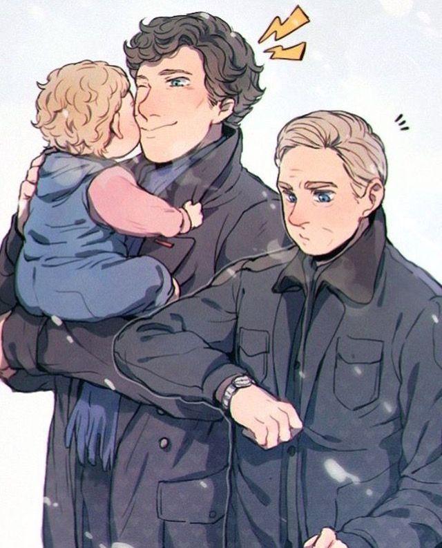 Sherlock, John, & Rosie fanart