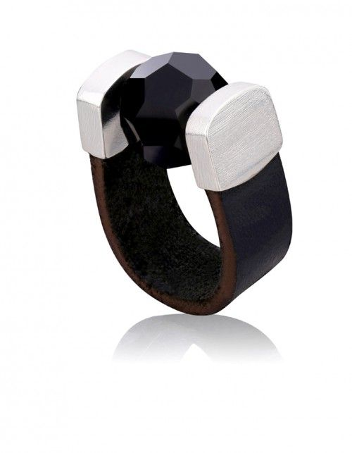 Black Crystal Leather Ring in Silver