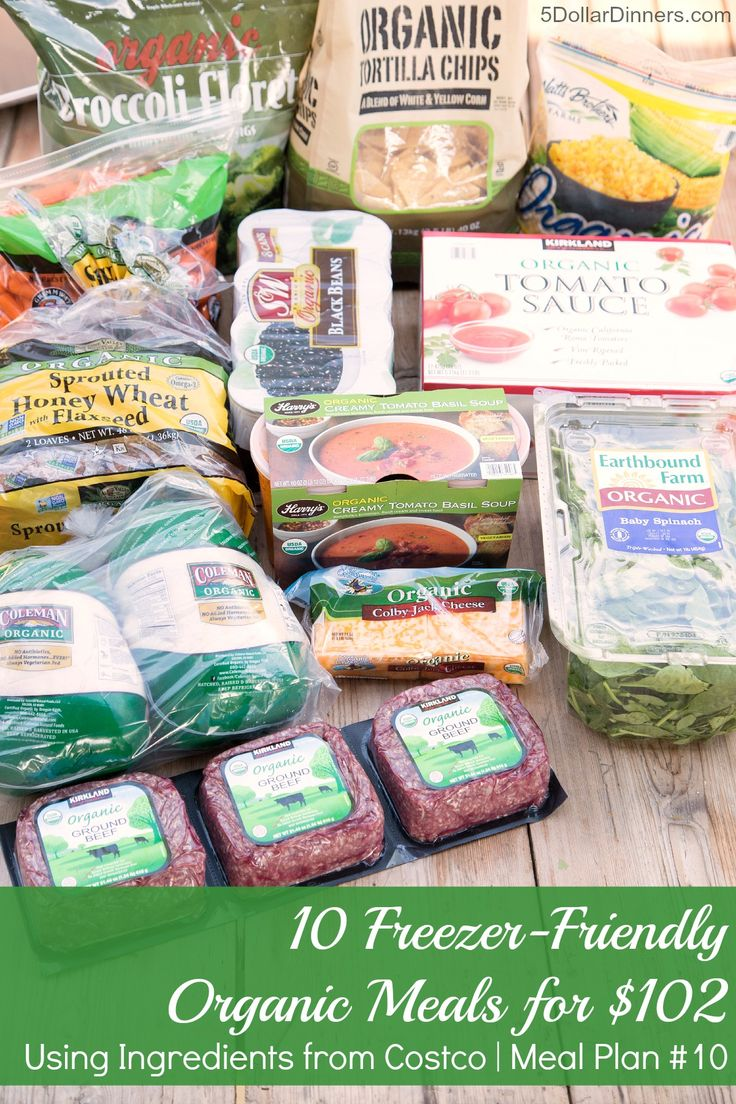 NEW MEAL PLAN! 10 Freezer Friendly Organic Meals for $100, Using Organic Ingredients from Costco | 5DollarDinners.com