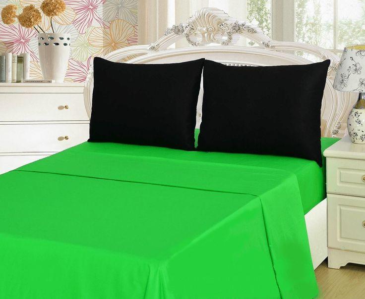 Tache 3-4 Pieces Lime Green & Black Bed sheet Set