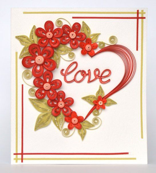 Открытки с квиллинга на день святого валентина, открытка 2012
