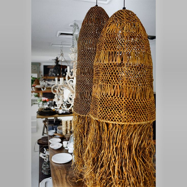 Raffia lampshades