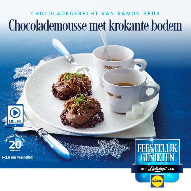 Recept voor Chocolademousse met krokante bodem #Lidl #Dessert #Chocolade #Recept