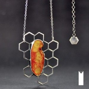 HONEY | Monika Kraczek  Unique, handmade, silver necklace with amber. Buy: www.monikakraczek.com