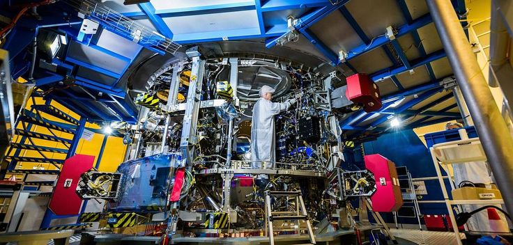 Orion's Powerhouse:    A technician works on the European Service Module that will propel the Orion spacecraft in space.