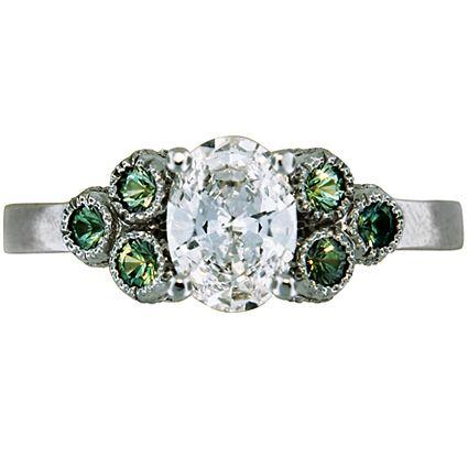 Green Sapphire Trio Ring from Brilliant Earth: Green Sapphire, Sapphire Rings, Design Green, Brilliant Earth, Custom Design, Sapphire Trio, Trio Rings, Rings Brilliantearth, Engagement Rings
