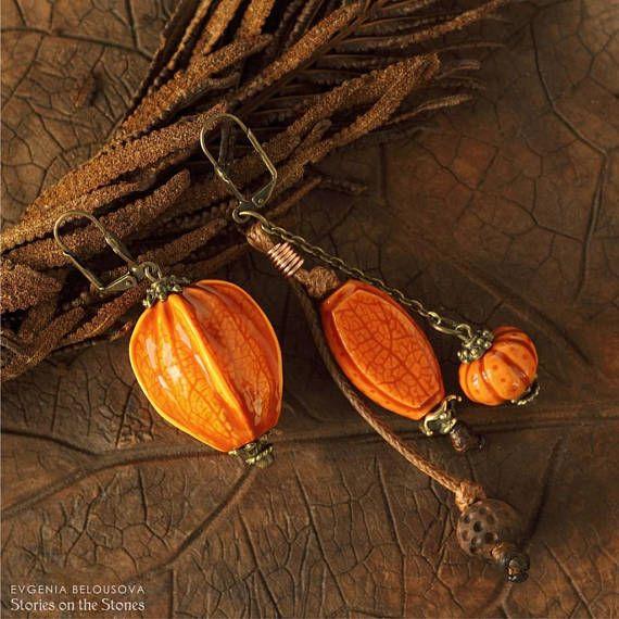 Mismatched earrings Asymmetric earrings Orange earrings Quirky