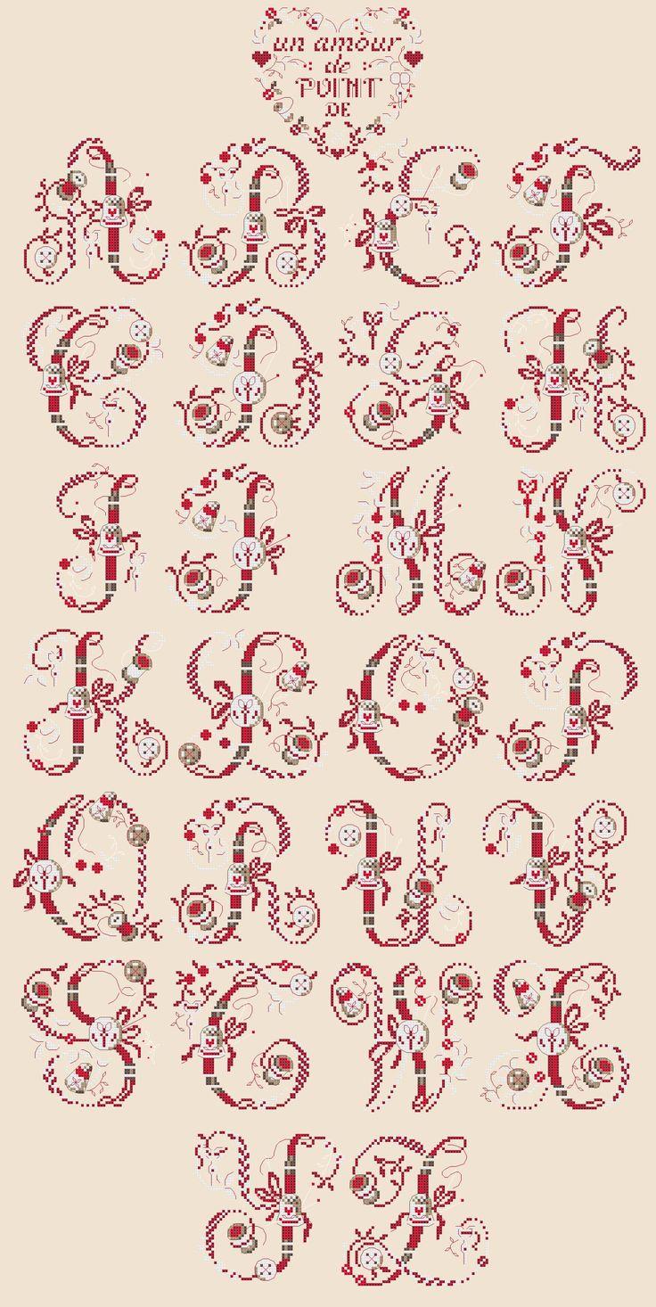 Cross stitch / Point de croix / Punto de cruz / Punto croce - alphabet / abécédaire / abecedario / alfabeto - La boite de la brodeuse