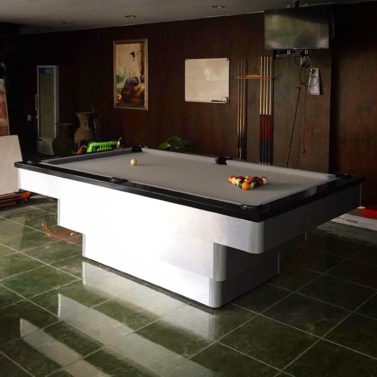 Our #newyork #pooltable Just Looks #perfect With Its #brushed #aluminum Look