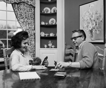 """Betty White & Allen Ludden -1963: Third times a charm. After turning down two proposals, White finally married TV host, Allen Ludden. The two met while White was a celebrity guest on """"Password"""" in 1961 and remained married until his death in '81."""