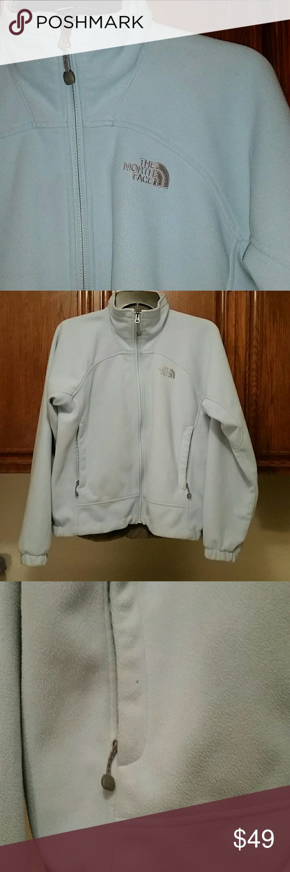 Baby blue North Face fleece Good used condition. One small spot where fleece is missing. Shown in third picture. I discount bundles! Make me an offer! North Face Jackets & Coats