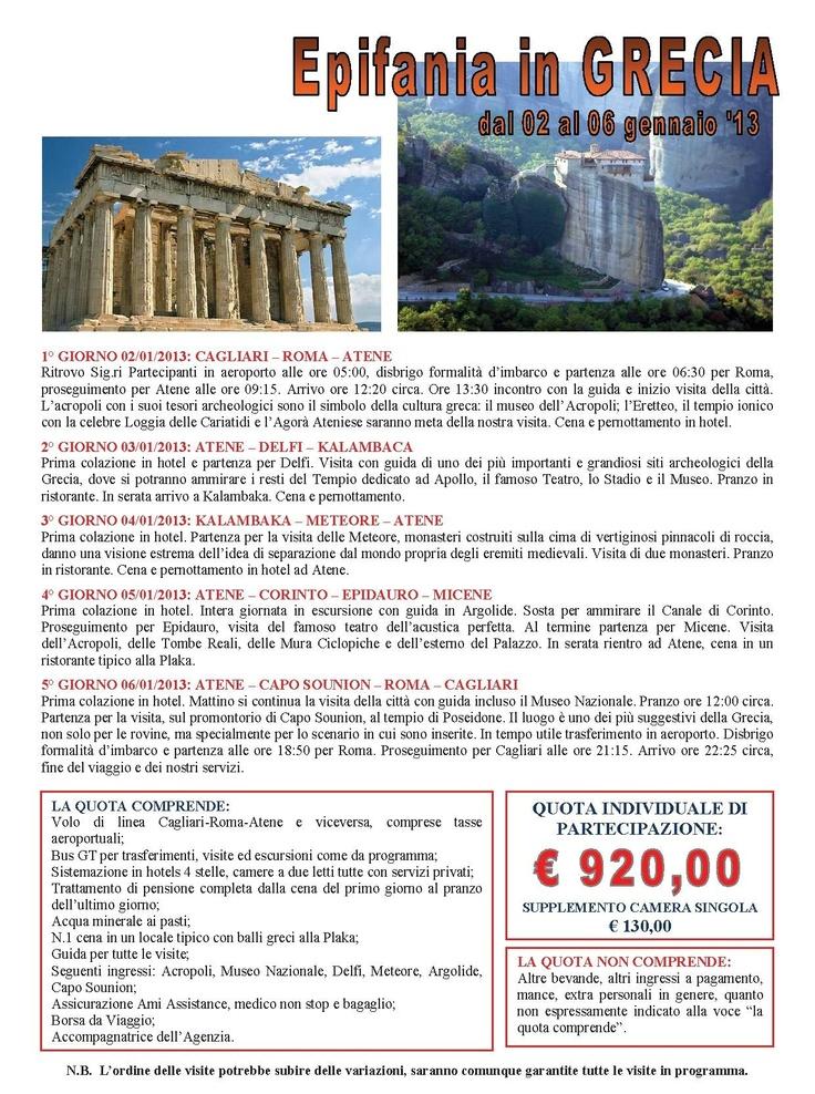 Tour in Grecia per l'Epifania con partenza da Cagliari, voli di linea