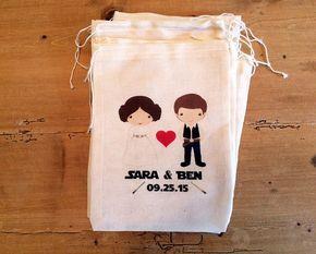 "10 boda Star Wars inspiraron bolsos de fiesta Favor de regalo. Conjunto de 10-3 x 5, 4 x 6, 5 x 7, 7 6 x 8 x 9 7 x 11"". Boda geek. Lazo personalizado"