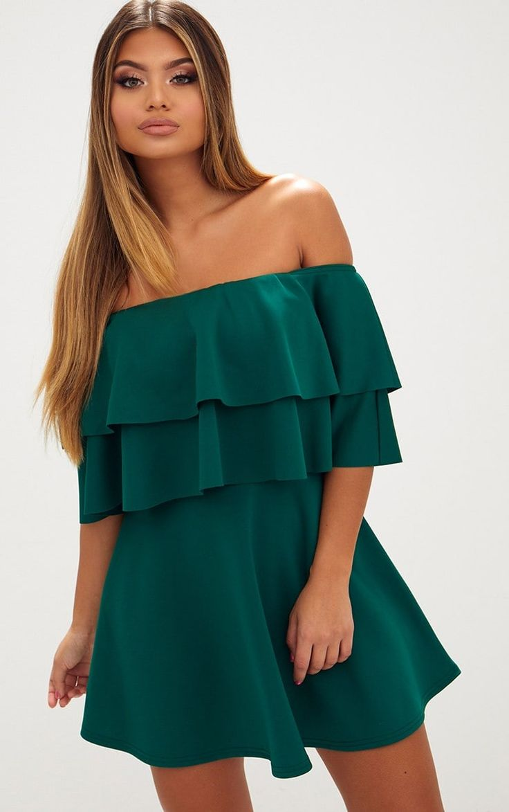 Emerald Green Frill Bardot Skater DressThis flirty and feminine skater dress is perfect for date ...