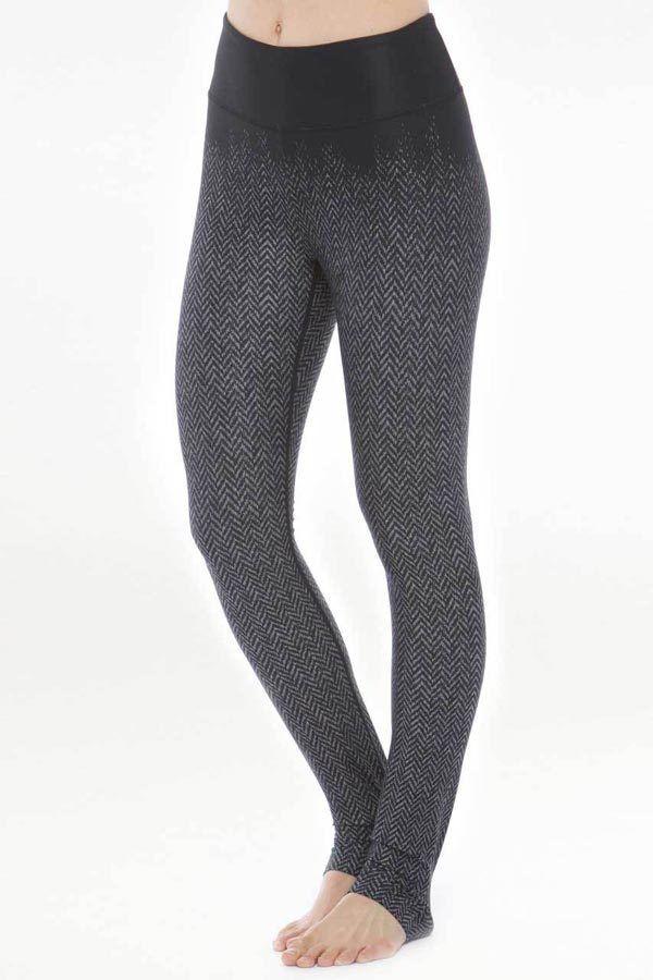 0ac667cdea35f Model wearing KiraGrace High Waisted Herringbone Printed Yoga Leggings
