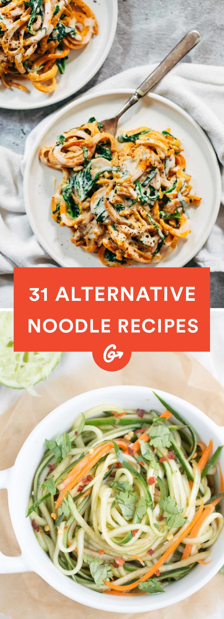 With noodles made from vegetables, beans, and even fruit, these creative and super delicious... #vegetable #noodles http://greatist.com/eat/alternative-noodle-recipes