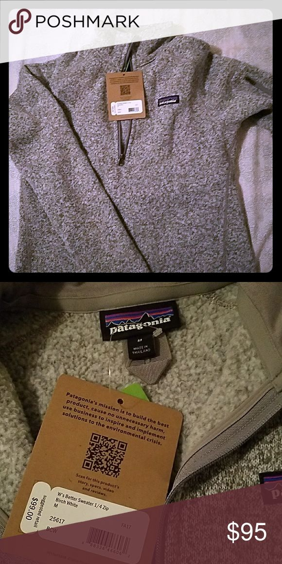 NET Patagonia Better Sweater Brand new with tags birch white size Medium. Price is firm, posh takes to much from sales. Patagonia Sweaters