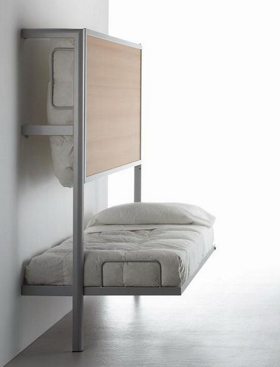 This would be perfect for a small room except with just one bed that folds up against the wall instead of bunks.