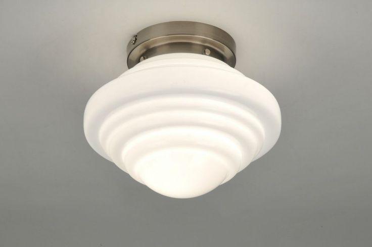 Plafonnier 86833: moderne, retro, verre, verre opale blanc