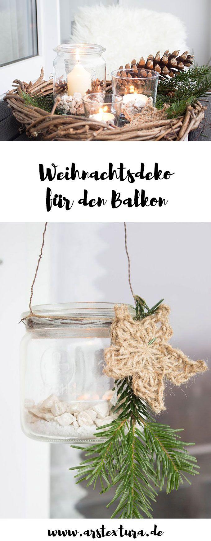 Rustikale Weihnachtsdeko für Balkon oder Terrasse basteln und Sterne aus Juteschnur häkeln
