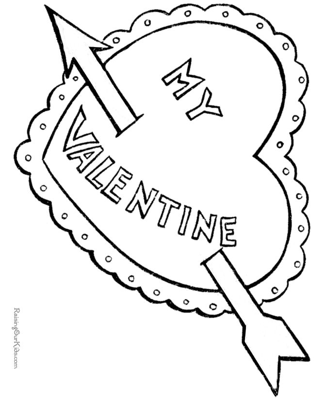Valentines Day Hearts Coloring Pages A Big Heart With An Arrow To Color Page Sheets Cutout