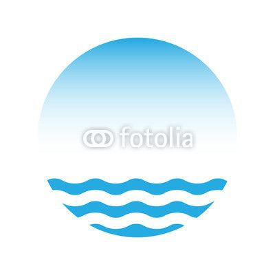 Wektor: Blue water and sky, vector logo