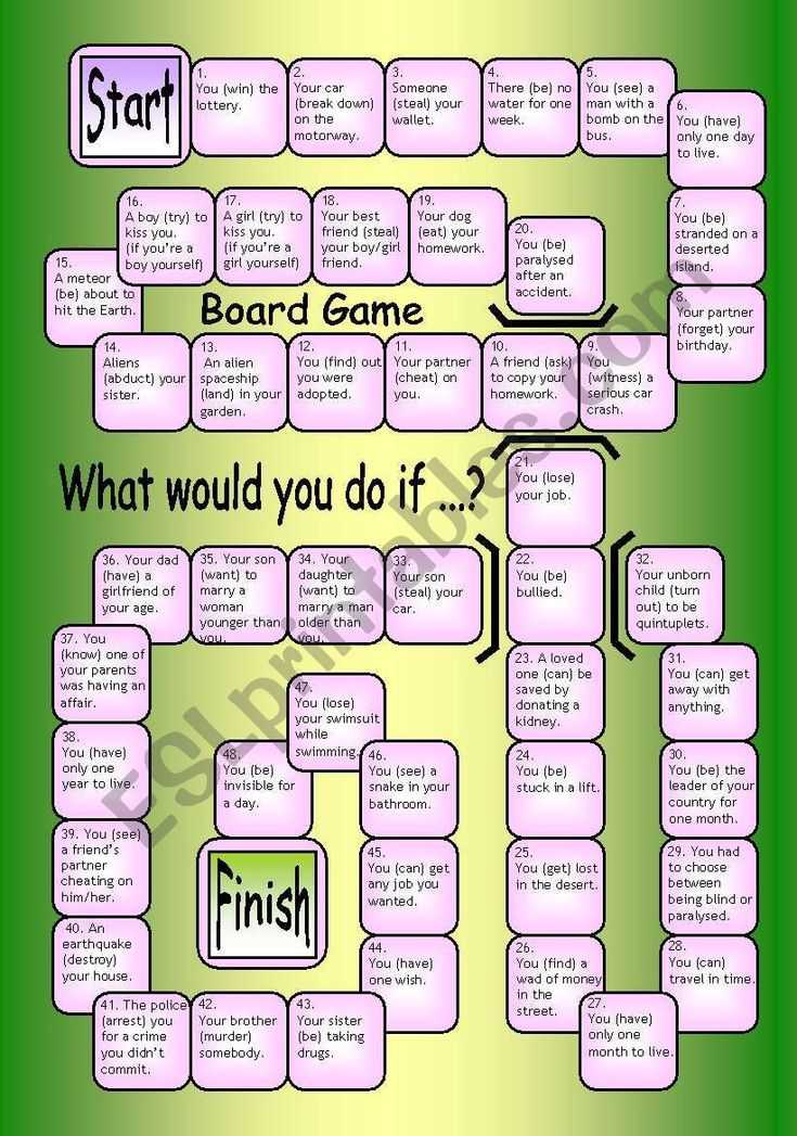 Board game what would you do if esl worksheet by