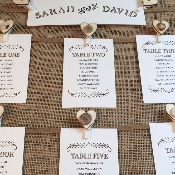 Vintage table plan in frame with rustic pegs with wooden vintage buttons to hold table cards. All cards are personalised and presented on hessian.