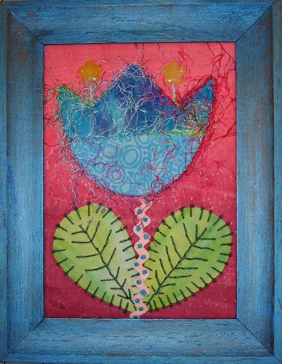 Quilted Framed Fibre Art by FabriArts on Etsy, $41.00