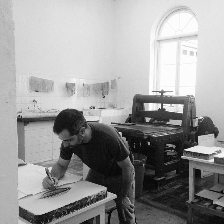 #lithography atelier at Solar do Barão. High ceilings huge windows industrial machinery and light. Lots of it. How not to love working here. . . . .  Visit portfolio at www.andrebrik.com. . . .#art #artwork #artcollectors #artoftheday #artgallery #artofinstagram #arte #brazil #color #contrast #contemporaryart #decor #design #fineart #graphicart #humour #illustrator #instaartist #instaart #latinart #graphicart #humour #modernart #popart #popsurreal #painting #poster #polishposters #print…