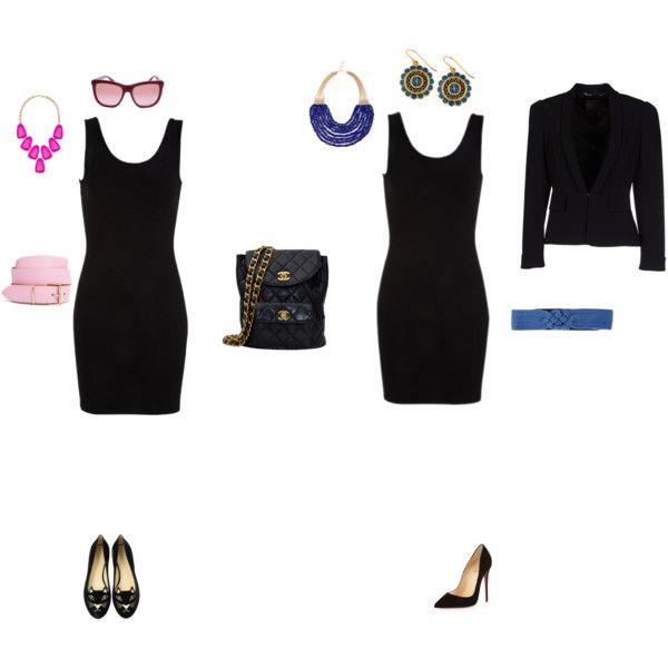 """""""vestido negro basico , look dia y look noche"""" by mariel-bruno on Polyvore"""