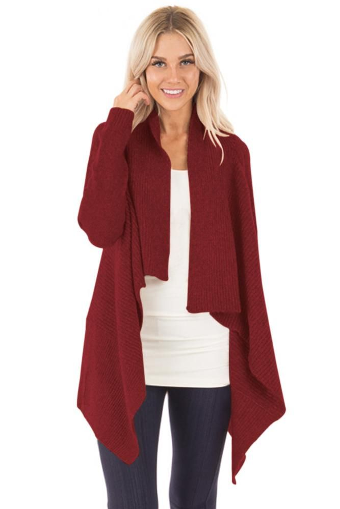 Now Available on chicloth.com: Chicloth Burgundy.... Check it out here:  http://chicloth.com/products/chicloth-burgundy-waterfall-long-sleeve-sweater-cardigan?utm_campaign=social_autopilot&utm_source=pin&utm_medium=pin