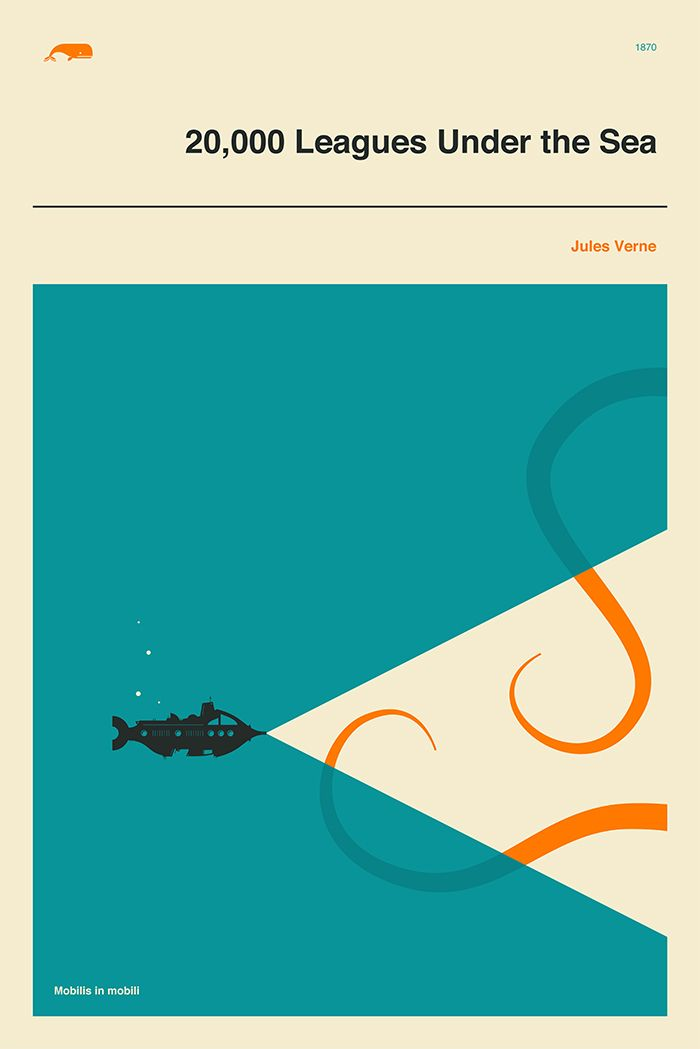 20000 Leagues Under The Sea Giclée Fine Art Print Minimal Etsy Leagues Under The Sea Minimalist Book Cover Minimalist Book Cover Design